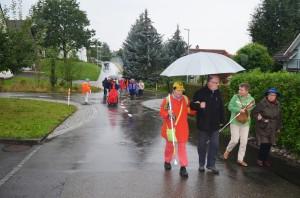 Regenspaziergang zum Bus am Mittwoch